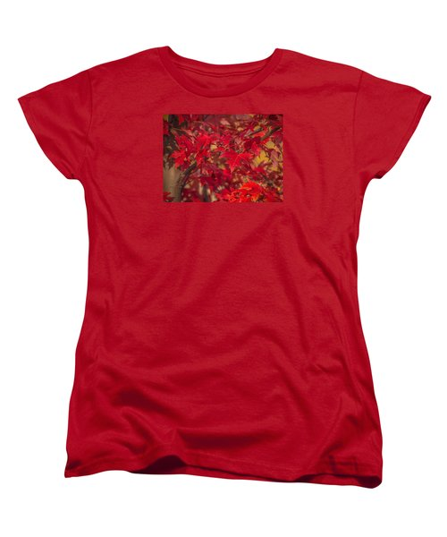 Leaves Of Red Women's T-Shirt (Standard Cut) by Cathy Donohoue
