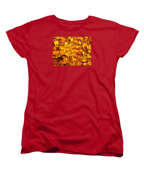Leaves Of Sepia Women's T-Shirt (Standard Cut) by Cathy Dee Janes