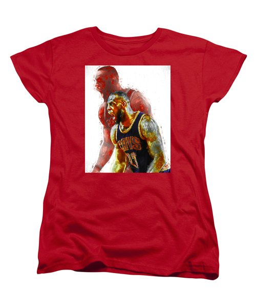 Lebron James 23 1 Cleveland Cavs Digital Painting Women's T-Shirt (Standard Cut) by David Haskett
