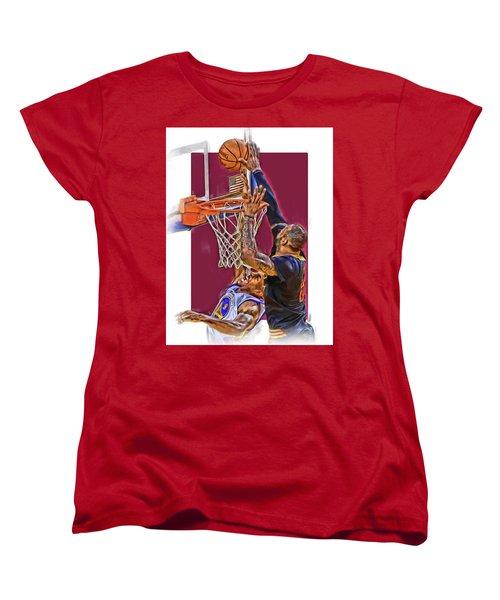 Lebron James Cleveland Cavaliers Oil Art Women's T-Shirt (Standard Cut) by Joe Hamilton