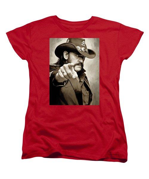 Women's T-Shirt (Standard Cut) featuring the painting Lemmy Kilmister Motorhead Artwork 1 by Sheraz A