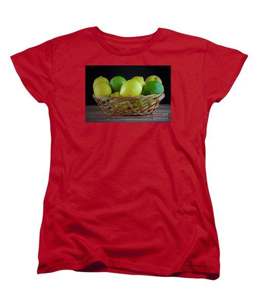 Lemon And Lime Basket Women's T-Shirt (Standard Cut) by Ray Shrewsberry