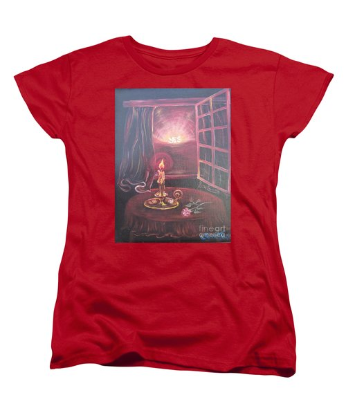 Women's T-Shirt (Standard Cut) featuring the painting Light The Yes Candle by Sigrid Tune