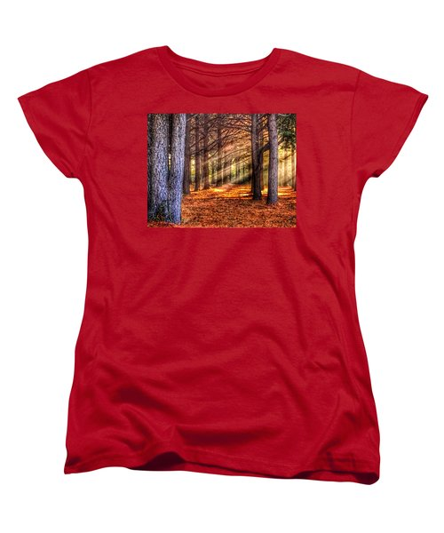 Women's T-Shirt (Standard Cut) featuring the photograph Light Thru The Trees by Sumoflam Photography