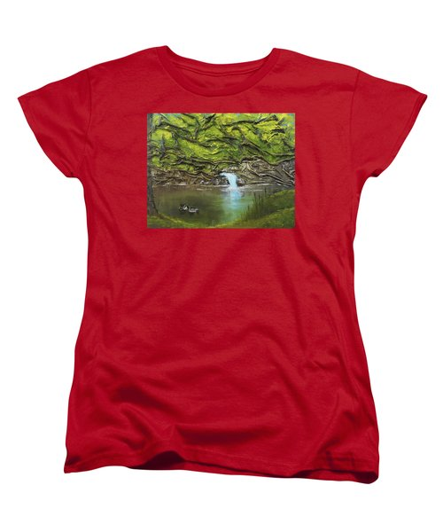 Women's T-Shirt (Standard Cut) featuring the mixed media Like Ducks On Water by Angela Stout
