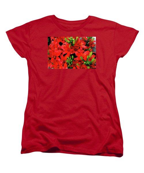 Women's T-Shirt (Standard Cut) featuring the photograph Lily Blossoms by LeeAnn McLaneGoetz McLaneGoetzStudioLLCcom