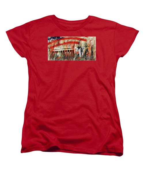 Women's T-Shirt (Standard Cut) featuring the painting Lincoln Memorial And Lincoln Statue by Gull G