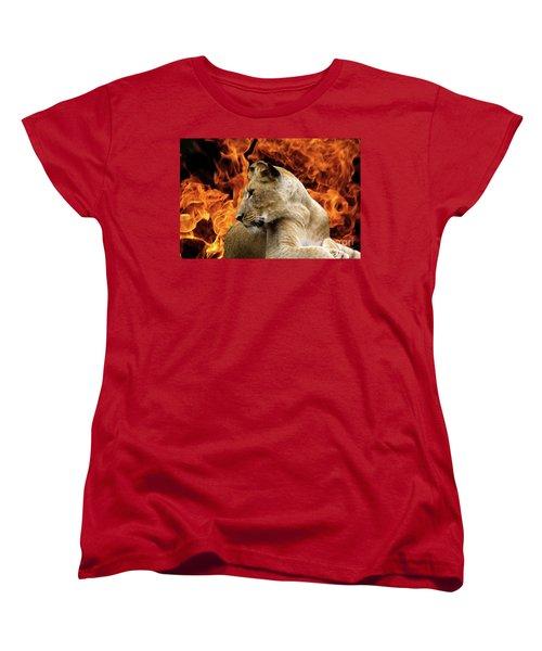 Lion And Fire Women's T-Shirt (Standard Cut) by Inspirational Photo Creations Audrey Woods