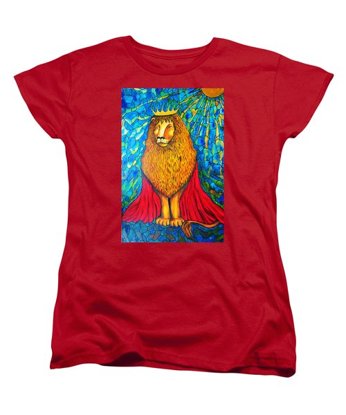Women's T-Shirt (Standard Cut) featuring the painting Lion-king by Rae Chichilnitsky
