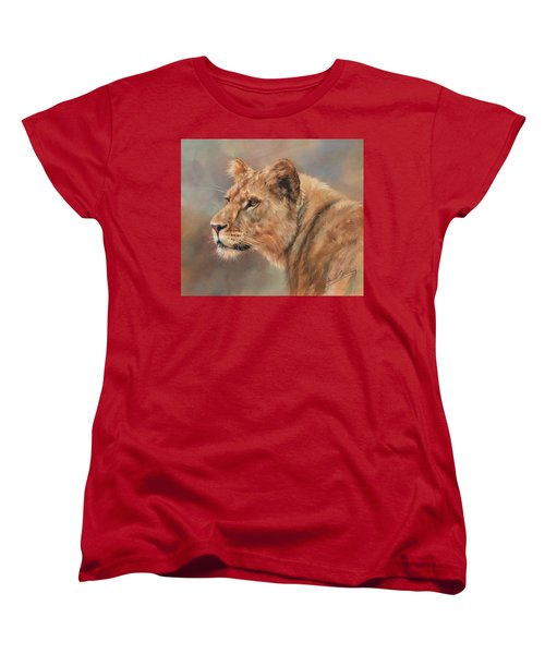 Lioness Portrait Women's T-Shirt (Standard Cut) by David Stribbling