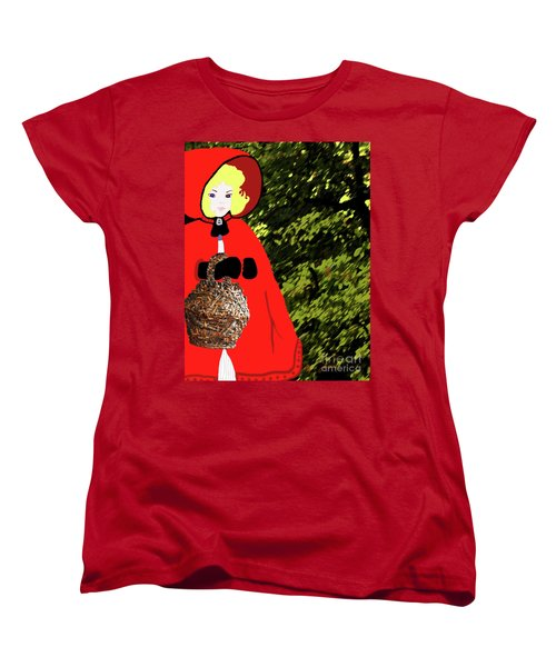 Little Red Riding Hood In The Forest Women's T-Shirt (Standard Cut) by Marian Cates