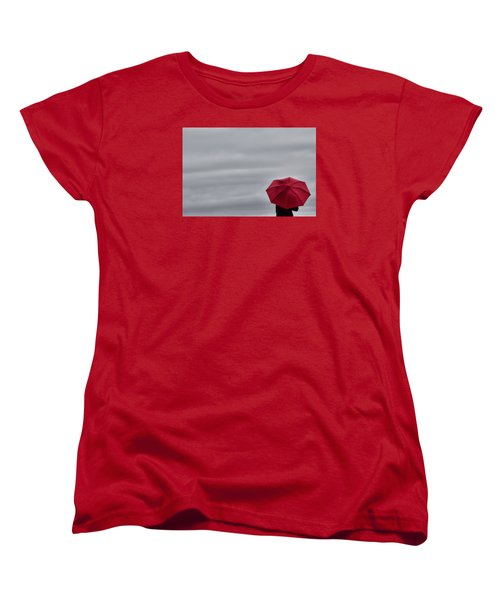 Little Red Umbrella In A Big Universe Women's T-Shirt (Standard Cut)