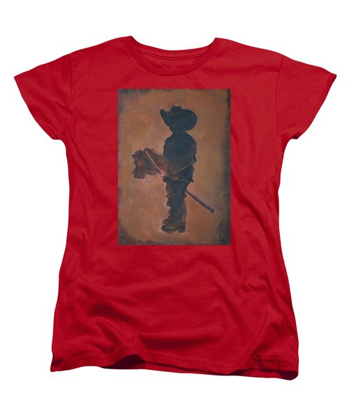Women's T-Shirt (Standard Cut) featuring the painting Little Rider by Leslie Allen