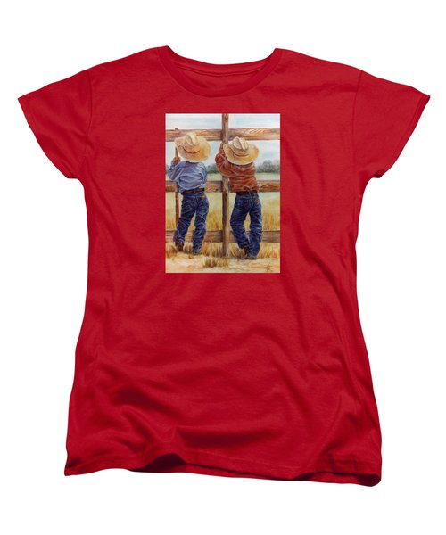 Women's T-Shirt (Standard Cut) featuring the painting Little Wranglers by Ann Peck