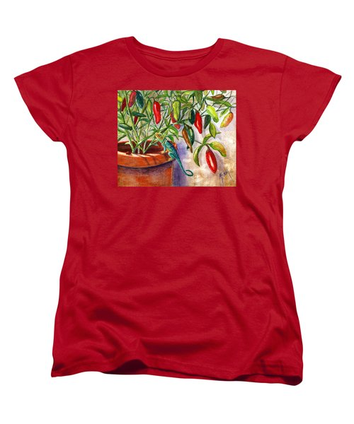 Women's T-Shirt (Standard Cut) featuring the painting Lizard In Hot Sauce by Marilyn Smith