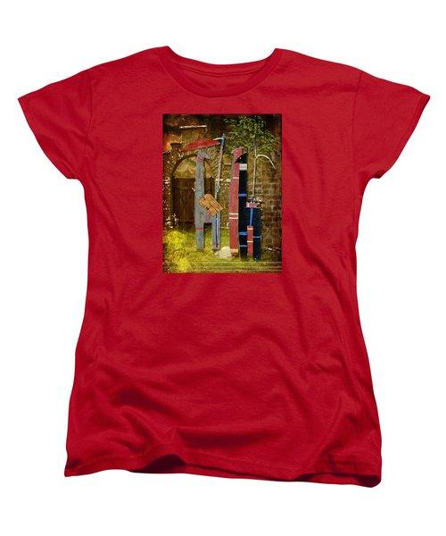 Women's T-Shirt (Standard Cut) featuring the digital art Llamas Say Goodbye by Bellesouth Studio