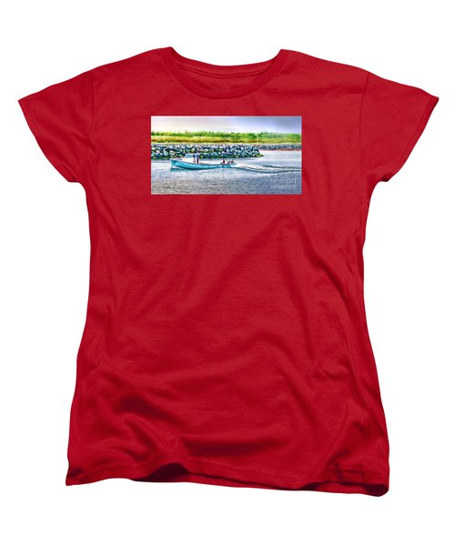 Lobster Fishing Day's End Women's T-Shirt (Standard Cut) by Patricia L Davidson