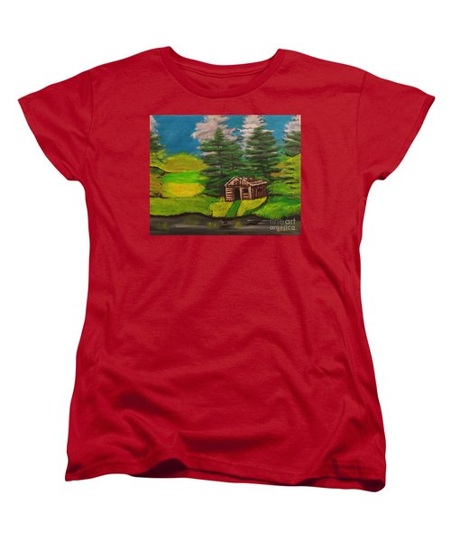 Women's T-Shirt (Standard Cut) featuring the painting Log Cabin by Brindha Naveen