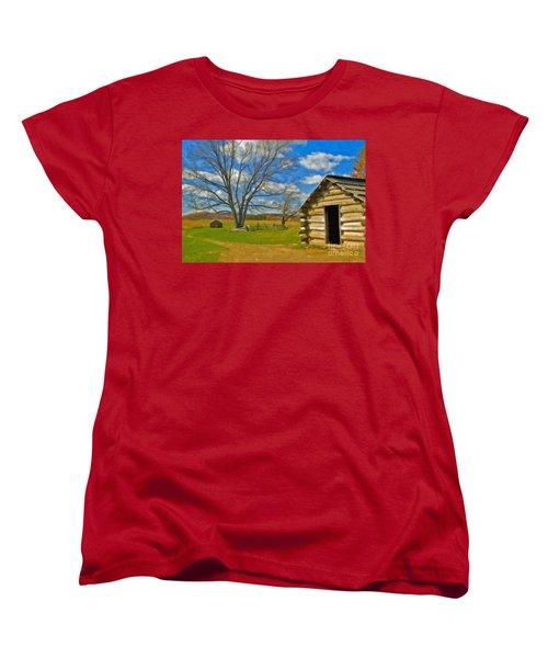 Women's T-Shirt (Standard Cut) featuring the photograph Log Cabin Valley Forge Pa by David Zanzinger
