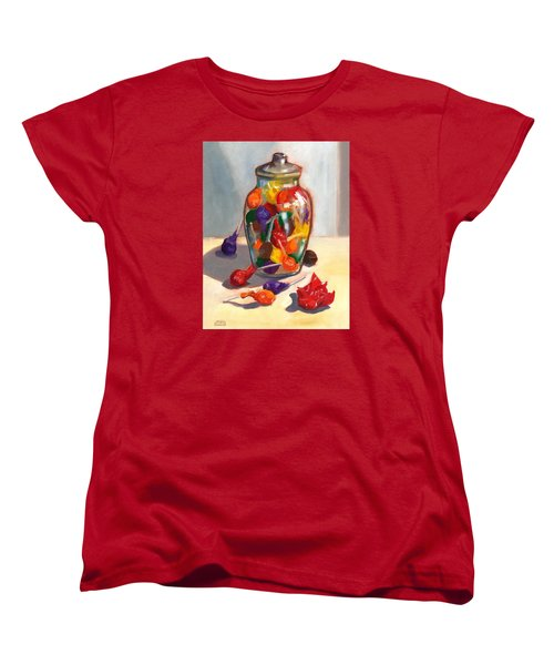 Women's T-Shirt (Standard Cut) featuring the painting Lollipops by Susan Thomas