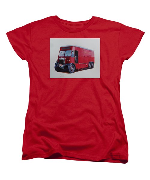 Women's T-Shirt (Standard Cut) featuring the painting London Transport Wrecker. by Mike Jeffries