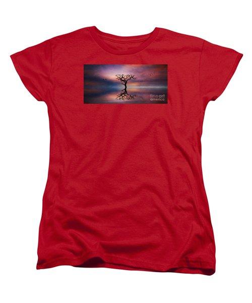 Women's T-Shirt (Standard Cut) featuring the digital art Lone Tree Sunrise by Ian Mitchell
