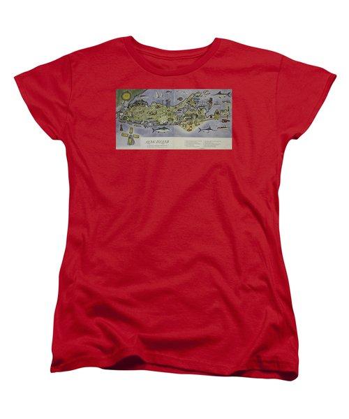 Women's T-Shirt (Standard Cut) featuring the photograph Long Island An Interpretive Cartograph by Duncan Pearson