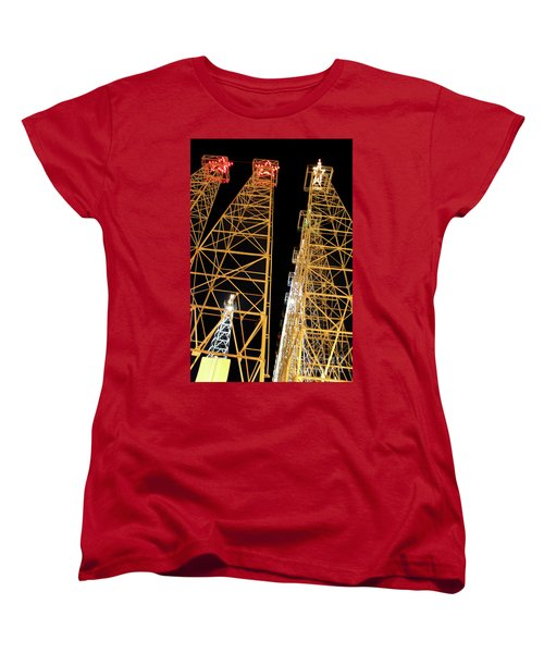 Looking Up At The Kilgore Lighted Derricks Women's T-Shirt (Standard Cut) by Kathy  White