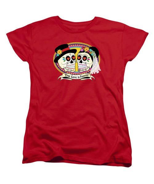 Women's T-Shirt (Standard Cut) featuring the drawing Los Novios Sugar Skulls by Tammy Wetzel