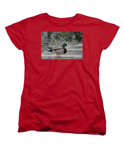 Women's T-Shirt (Standard Cut) featuring the photograph Lost Duck by Mariola Bitner