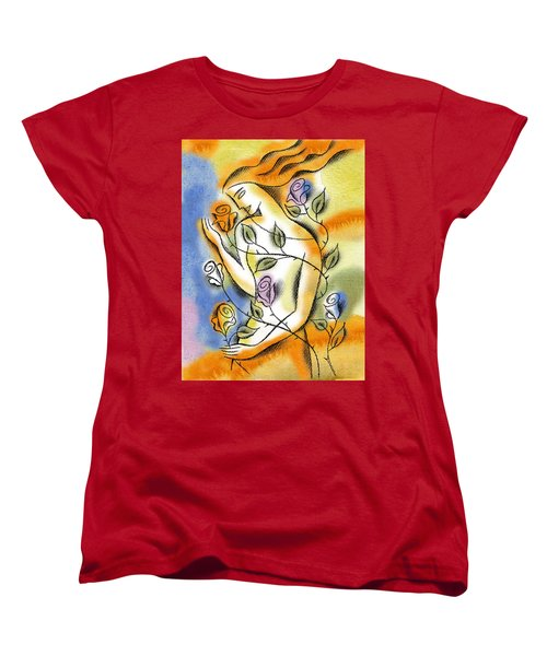 Women's T-Shirt (Standard Cut) featuring the painting Love, Roses And Thorns by Leon Zernitsky