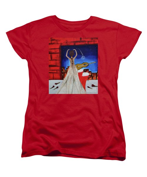 Women's T-Shirt (Standard Cut) featuring the painting Love To Dance 002 By Saribelle Rodriguez by Saribelle Rodriguez