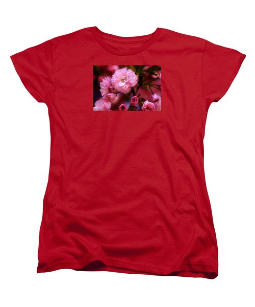 Women's T-Shirt (Standard Cut) featuring the photograph Lovely Spring Pink Cherry Blossoms by Shelley Neff