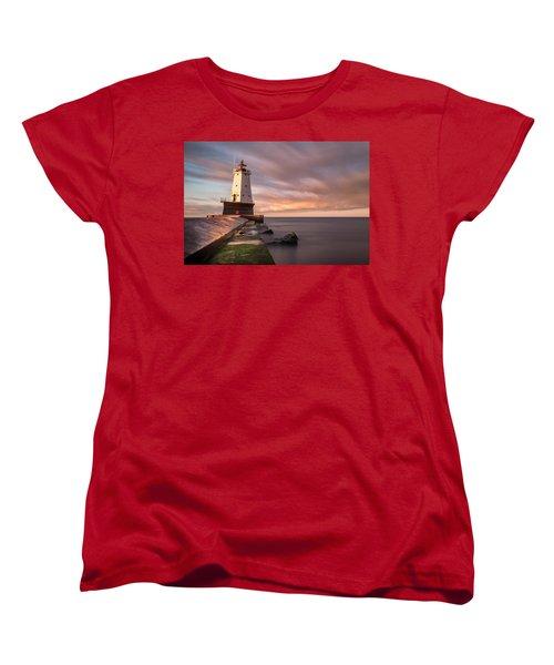 Women's T-Shirt (Standard Cut) featuring the photograph Ludington Light Sunrise Long Exposure by Adam Romanowicz