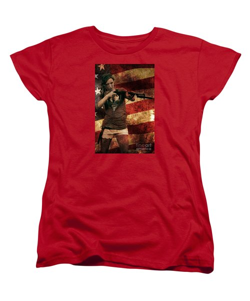 M1 Carbine On American Flag Women's T-Shirt (Standard Cut) by David Bazabal Studios