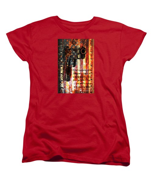 M1911 Pistol And Second Amendment On Rusted American Flag Women's T-Shirt (Standard Cut) by M L C