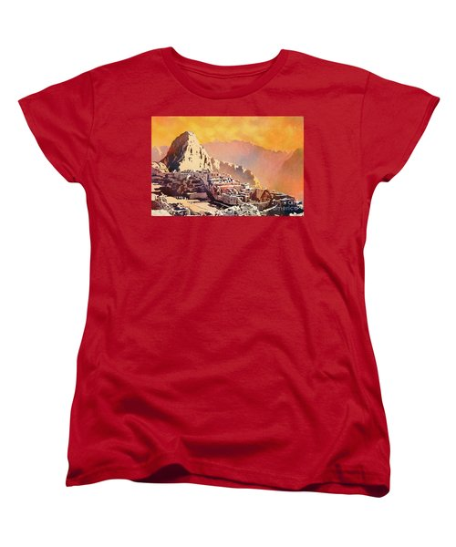 Women's T-Shirt (Standard Cut) featuring the painting Machu Picchu Sunset by Ryan Fox