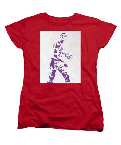 Magic Johnson Los Angeles Lakers Pixel Art Women's T-Shirt (Standard Cut) by Joe Hamilton
