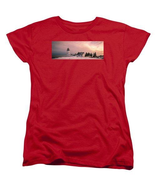 Maine Pemaquid Lighthouse After Winter Snow Storm Women's T-Shirt (Standard Cut) by Ranjay Mitra