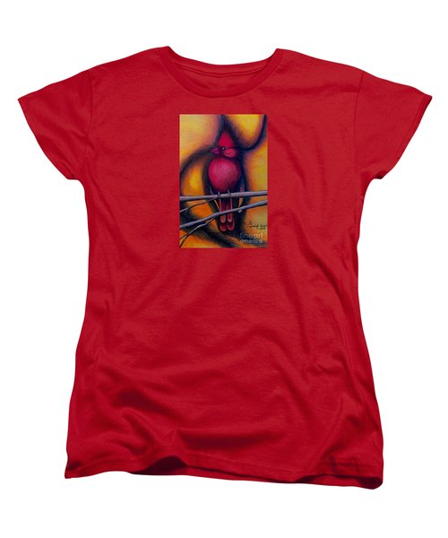 Women's T-Shirt (Standard Cut) featuring the painting Male Cardinal by Fanny Diaz