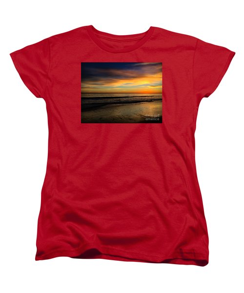 Malibu Beach Sunset Women's T-Shirt (Standard Cut) by Chris Tarpening