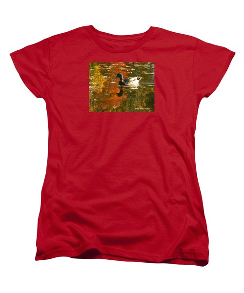 Women's T-Shirt (Standard Cut) featuring the photograph Mallard Duck In The Fall by Emmy Marie Vickers