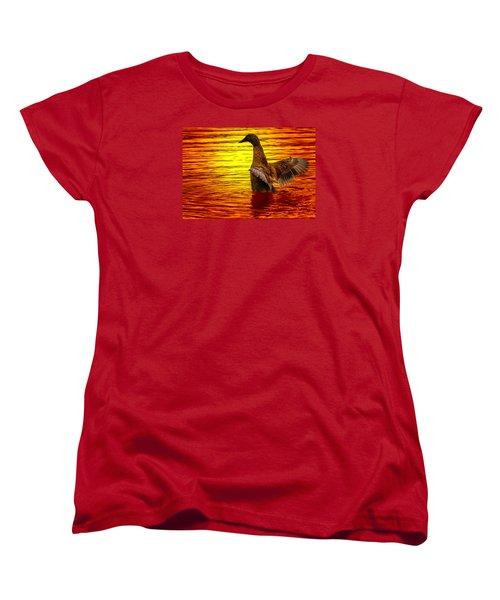 Women's T-Shirt (Standard Cut) featuring the photograph Mallard Sunset by Brian Stevens