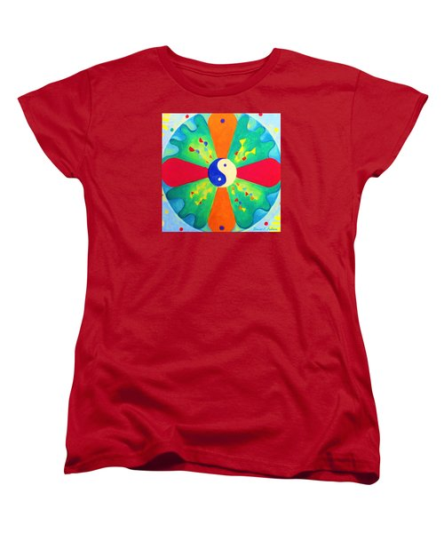 Women's T-Shirt (Standard Cut) featuring the painting Mandala by Denise Fulmer
