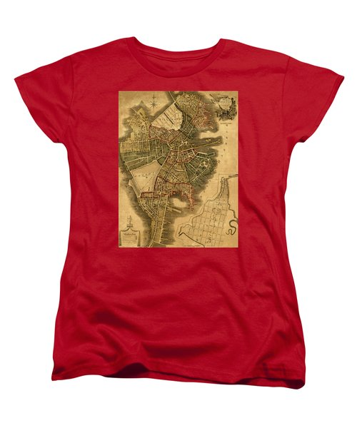 Map Of Boston 1814 Women's T-Shirt (Standard Cut) by Andrew Fare