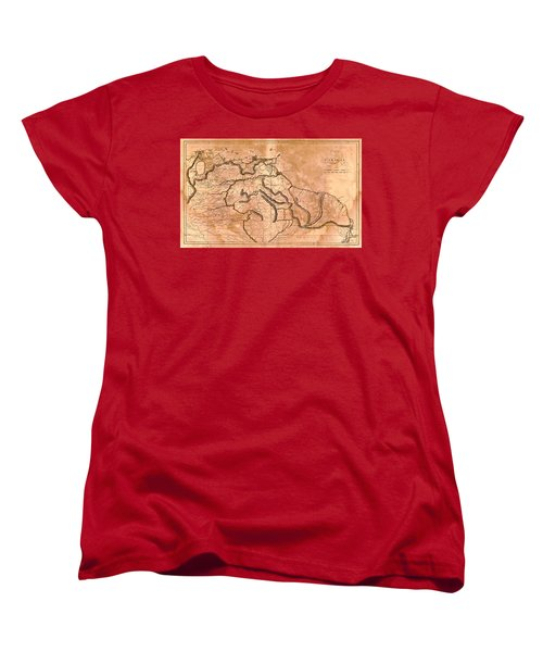 Map Of Caracas 1814 Women's T-Shirt (Standard Cut) by Andrew Fare