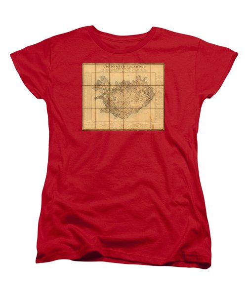 Map Of Iceland 1849 Women's T-Shirt (Standard Cut) by Andrew Fare