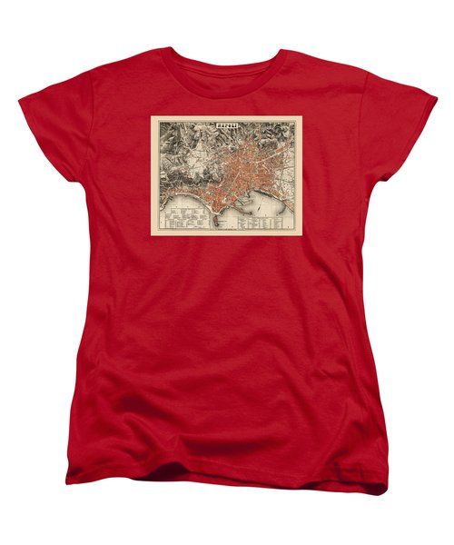 Map Of Naples 1860 Women's T-Shirt (Standard Cut) by Andrew Fare