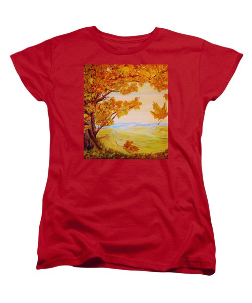 Women's T-Shirt (Standard Cut) featuring the painting Maple One by Cathy Long