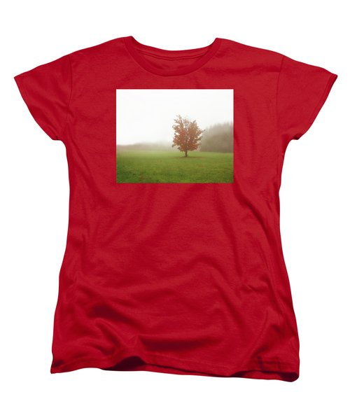 Women's T-Shirt (Standard Cut) featuring the photograph Maple Tree In Fog With Fall Colors  by Brooke T Ryan